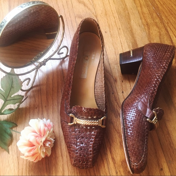 Gucci Shoes - Gucci vintage 70s woven horsebit loafers size 38 B